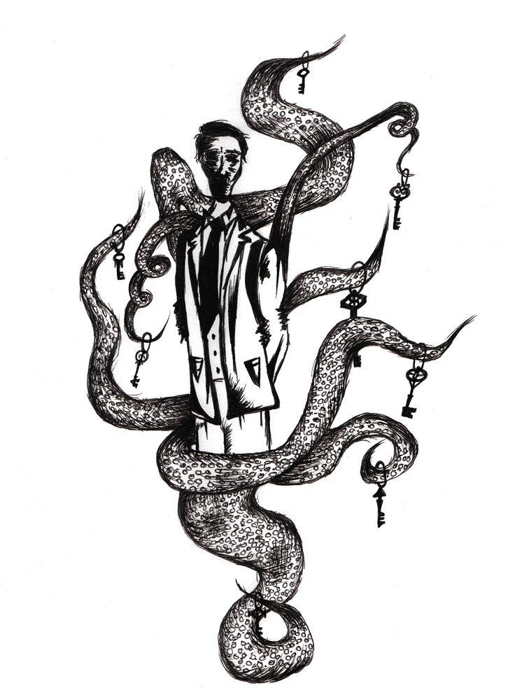 """Zeichnung von der Künstlerin Vivienne Feiler für die Kurzgeschichte """"Lovecrafts Ruf"""" in der Anthologie """"Wenn Soziopathen träumen""""."""