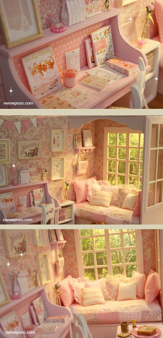 ♥ NEW DIORAMA PINK GARDEN BedRoom ♥     For around 16 cm doll like Lati yellow, Middie Blythe, Puki fee , odeco and nikki , licca , enyo ,...
