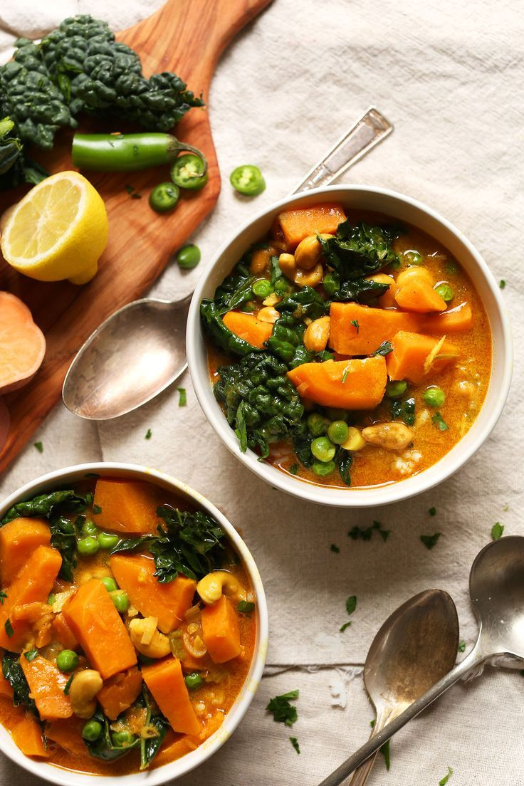 A hearty 1-pot curry with kale, sweet potato, and roasted cashews. Red curry is infused with coconut milk for big flavor and creamy texture. 30 minutes.