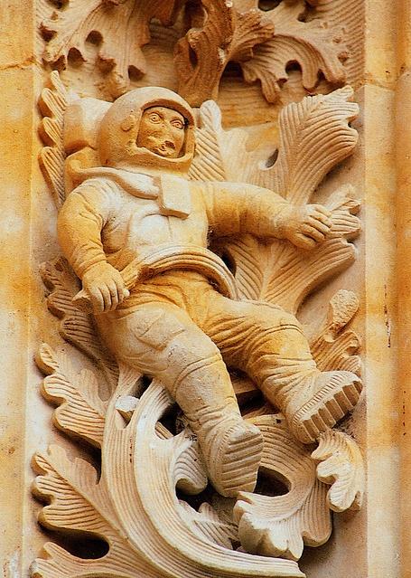 image copyright ribizlifozelek on Flickr.  Astronaut, Cathedral Nueva, Salamanca, Spain