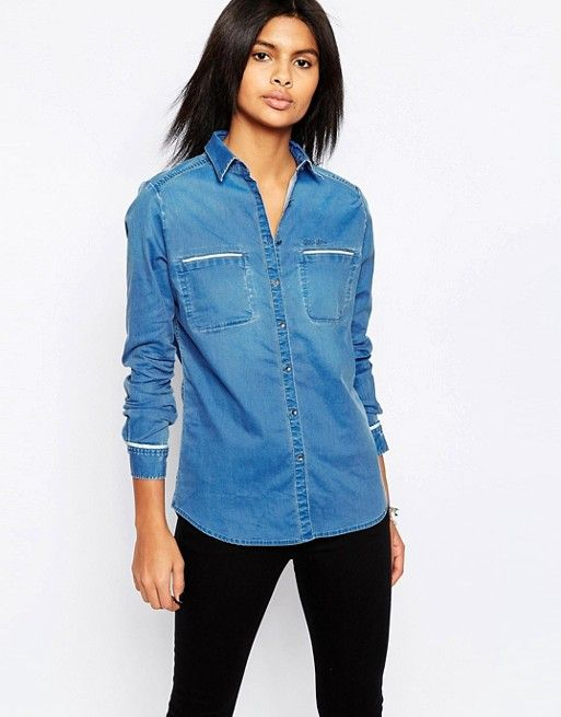 Pepe Jeans | Pepe Jeans Carla Denim Shirt with White Piping at Asos