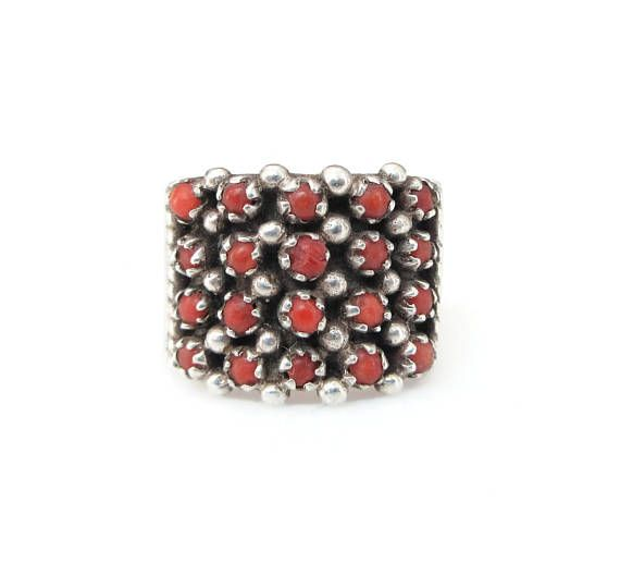 Coral Sterling Ring Petit Point Sterling Silver Native