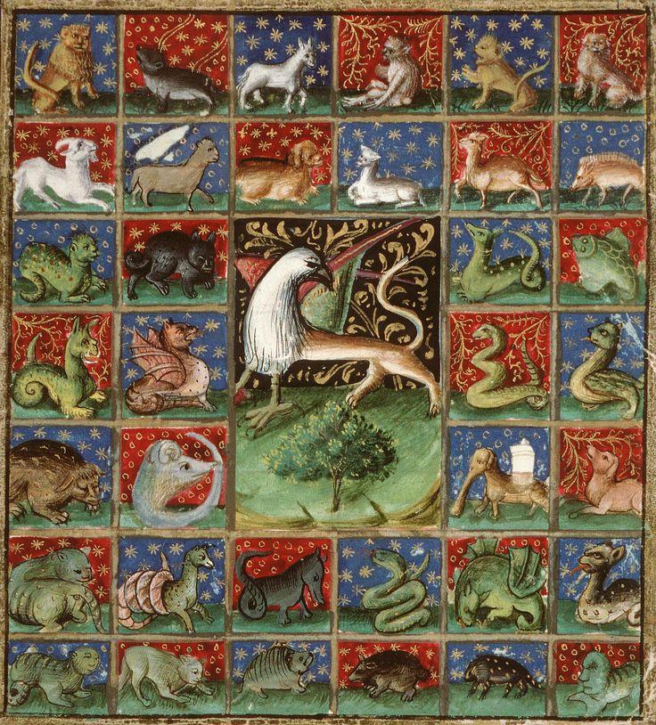 Le griffon au centre de l'inventaire des animaux (fol. 241r) -- «Livre des propriétés des choses», par Barthélémy l'Anglais (traduit en français par Jean Corbechon), Paris, 1447. [BM Amiens, Ms 399]