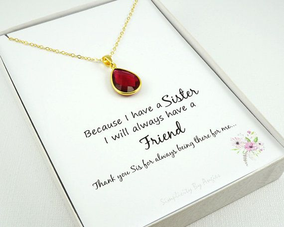 July  Birthstone Necklace  Ruby  Ruby by SimplicityByAngies