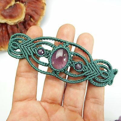 Pulsera de Macramé Shamballa Cabujón Piedra Amatista Encerado cable hecho a mano a mano