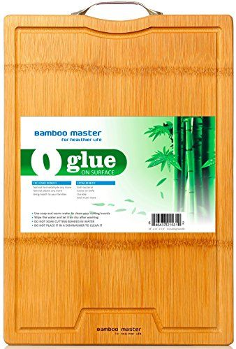 ★HEALTHIEST BAMBOO CUTTING BOARDS★ Seamless surface means 0 glue on surface and 0 formaldehyde contact with food; no any coating or dyes or any chemicals on the surface; made of complete natural organic bamboo, so you don't have to eat glue or plastic or chemicals any more! ★MUCH MORE DURABLE THAN ALL OTHER BAMBOO CUTTING BOARDS★ Since it's not glued together with strips, there is no way to crack unlike all other bamboo cutting boards glued with strips. 3-ply layer structure make it strong…