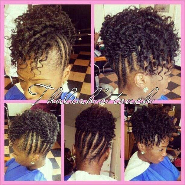 Braid Updo With Curly Mohawk Dreads Twists And Braids