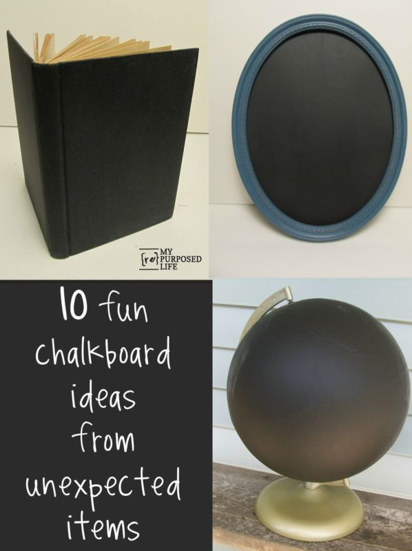 Fun and easy chalkboards from unexpected items such as a globe, vintage book, mailbox and more. #spon