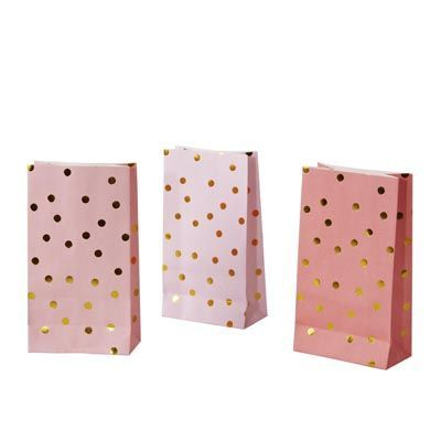 Gorgeous pack of ten Gold Spot Lolly Bags from the very best in designer party products, Poppies For Grace! Each pack contains ten flat based lolly bags featuring gold foil spots in three shades and a flat base so they stand alone filled with goodies on your dessert table! Perfect for everything from first birthday parties to baby and bridal showers! #designerparty #treatbags #favourbags #goldspot #partysupplies #eventstyling #kidsparties #childrensparties #littlebooteek