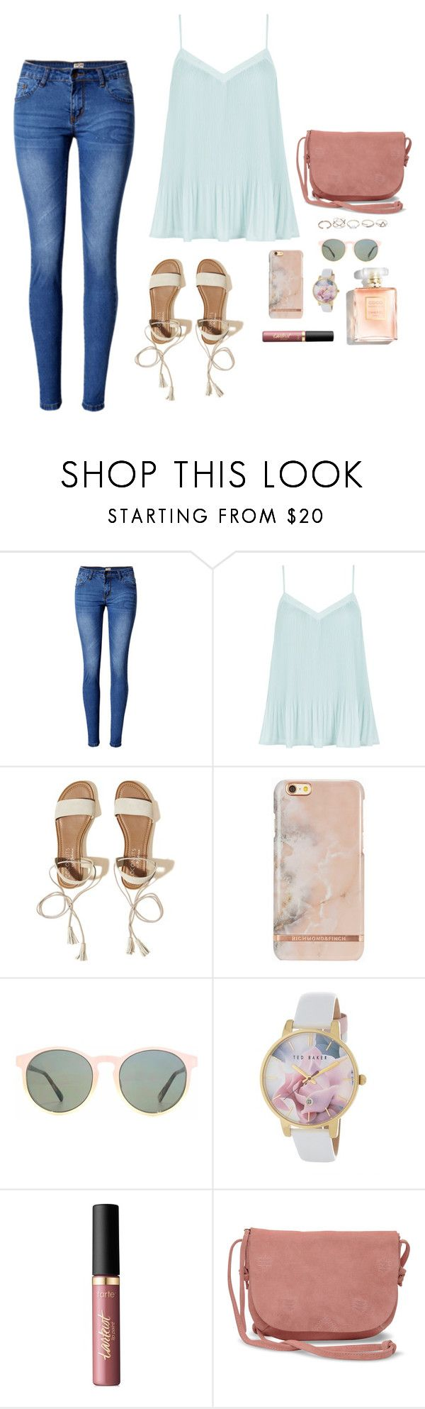 """""""Pastel Lady"""" by rara31 ❤ liked on Polyvore featuring WithChic, New Look, Hollister Co., HOOK LDN, Ted Baker, tarte, TOMS and GUESS"""