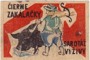 "matchbox cover - Czechoslovakia 1950 - 1960 ""Illegal of slaughter is sabotage of nutrition""   Aj obrázky zo zápalkových škatuliek sú skvostné 