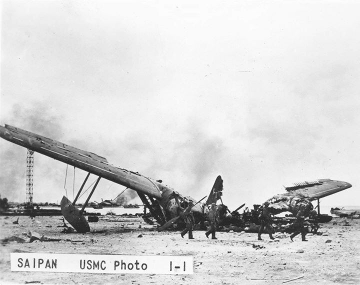 Destroyed Japanese flying boat Saipan Mariana Islands June/July 1944.