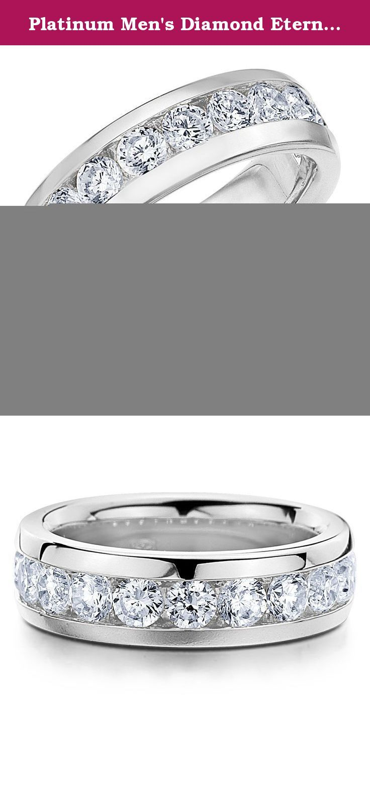 Platinum Men's Diamond Eternity Ring (5.0 cttw, F-G Color, VVS1-VVS2 Clarity) Size 13. A sophisticated design with exquisite lines, this handsome men's eternity wedding ring features 5.0 CTTW of brilliant cut round diamonds in a charming and masculine channel setting. The dazzling diamonds are secured in place by an expertly crafted channel setting for a rich and sophisticated menâ€TMs ring.This exceptional eternity ring delivers a simple yet bold statement of strength and power. Every...