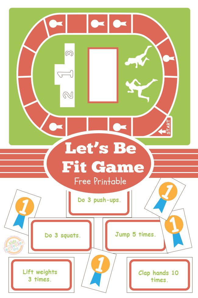 Combine exercise and fun with this free printable kids Let's Be Fit Board Game.