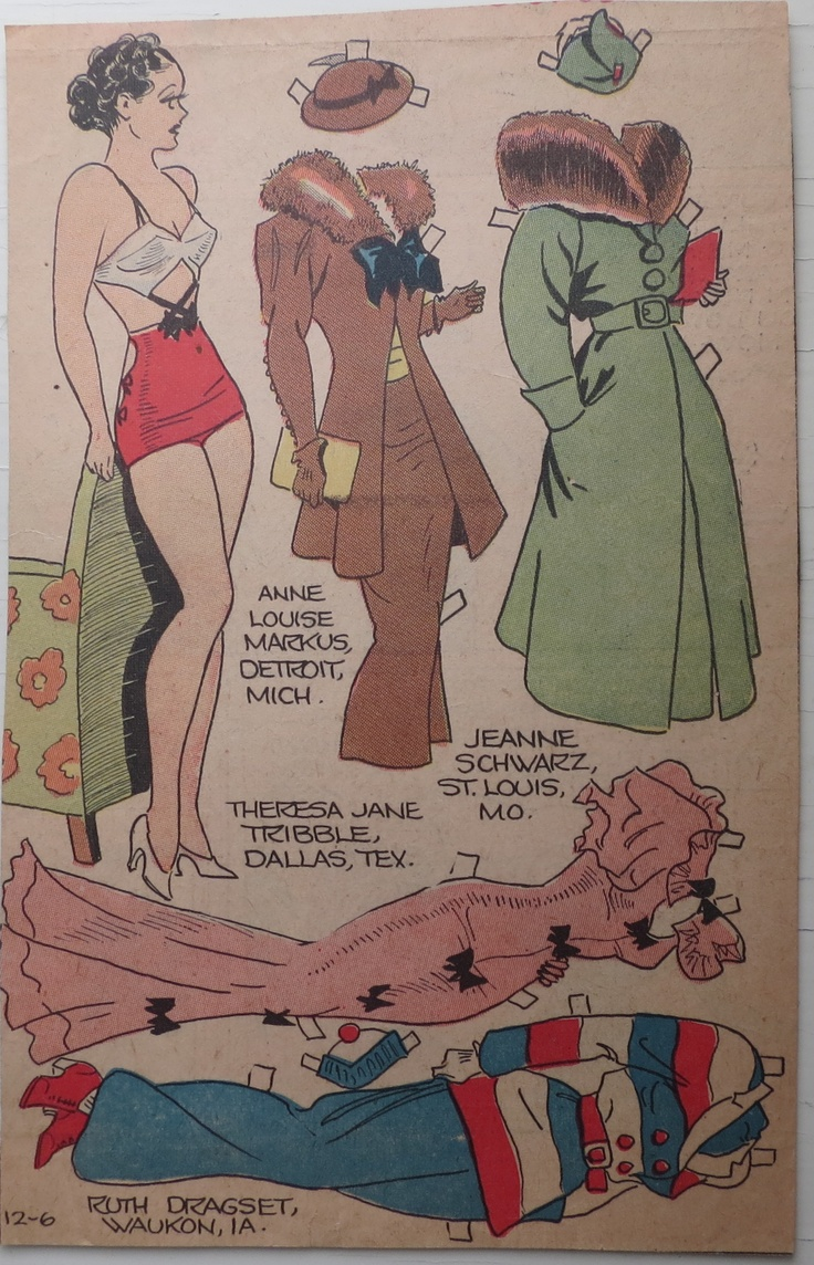 Sunday Paper paper dolls from the early 30's - my collection.