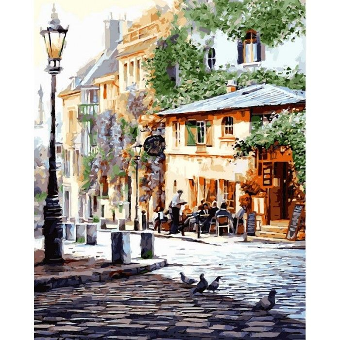 Картина раскраска по номерам на холсте 50*65см Бебилон Турбо VPS509 Италия Летнее кафе худ Ричард Макнейл