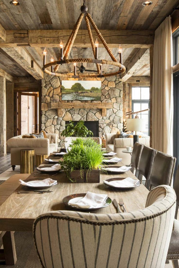 Rustic Lake House - Martha OHara Interiors - chandelier fro Currey and Co.