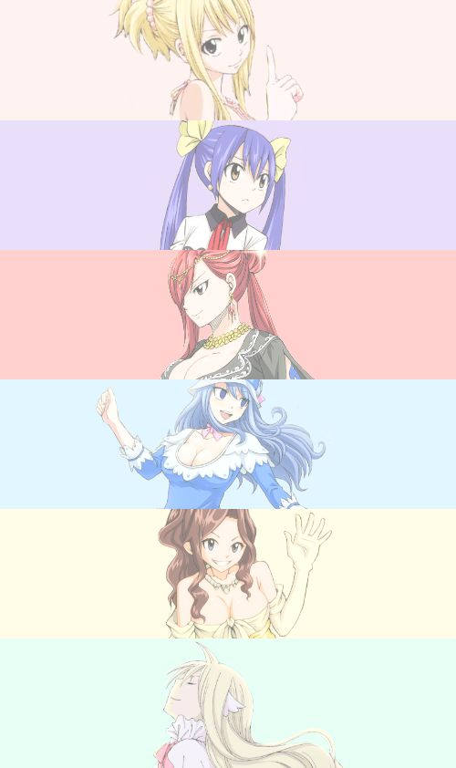 color, erza scarlet, fairy tail, girls, juvia lockser, lucy heartfilia, cana alberona, wendy marvell, fairy tail juvia, fairy tail girls, mavis vermillion, fairy tail lucy, fairy tail erza, fairy tail wendy, anime, ️anime girls, fairy tai