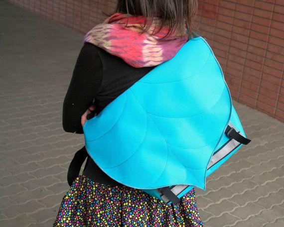 Turquoise Blue Leaf Bike Messenger Bag Waterproof by LeaflingoOo, $73.00