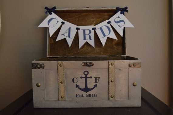 Vintage Nautical Wedding Card Box, Rustic Wedding Card Box, Large Vintage Trunk Wedding Box with Anchor, Initials, and Estabished Date  A1A