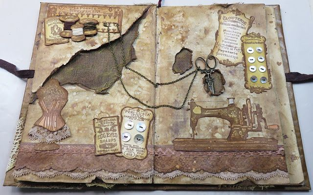 PaperArtsy: 2017 #18 Torn, Ripped, Burnt: Sewing Art Journal with HP {by Raquel Burillo}