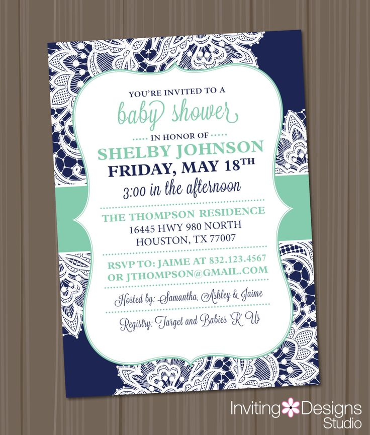 Navy and Mint Green Baby Shower Invitation, Lace, Dark Blue, Aqua, Vintage, Shabby, Chic, Neutral, Girl, Boy (PRINTABLE FILE) #IDS1040 by InvitingDesignStudio on Etsy https://www.etsy.com/listing/198529427/navy-and-mint-green-baby-shower