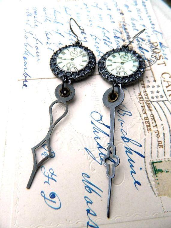 Steampunk Earrings Repurposed Clock Hands by FleaMarketGal on Etsy, $22.00