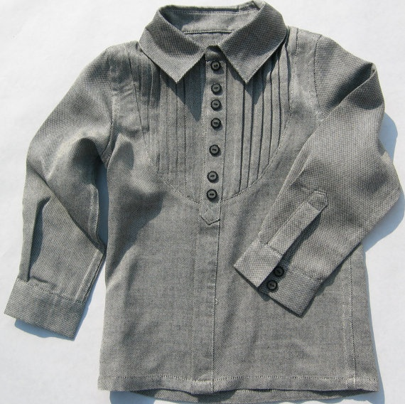 Bira Biro Grey_Pleated_Plank_Shirt