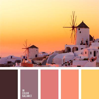amarillo y rosado, color coral pálido, color puesta del sol, color puesta del sol en el mar, color puesta del sol en Santorini, color pulpa de pomelo, combinación de colores para decorar interiores, rosado y coral, selección de colores para el diseño de interiores, tonos violetas.