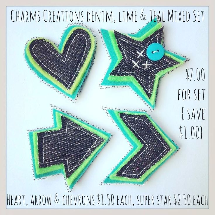 Denim, Lime & Teal Mixed Embellishments / Charms Creations