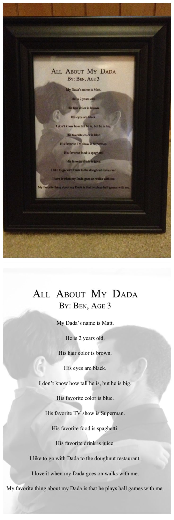 Birthday gift for my husband.  Would have made a good Father's Day gift too.  Our son only answered his name and hair color correctly, but it makes it very cute/funny and will be a great memento.