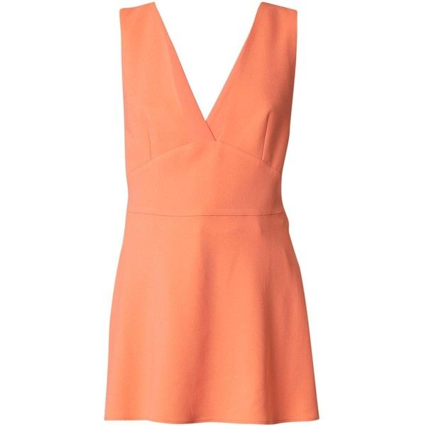 Stella McCartney 'Amanda' top (885 PEN) ❤ liked on Polyvore featuring tops, sleeveless tops, deep v neck top, red sleeveless top, criss cross back top and orange sleeveless top