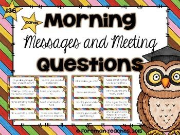 "Do you have your students respond to a question each day? I do!   I hold Morning Meetings in my classroom each day and ask my students to respond to a question at the end of each message. I mostly ask questions related to what we are currently learning, but I do like to throw in some ""get to know you"" questions, too. They can also be used as a way for students to share during the morning meeting."