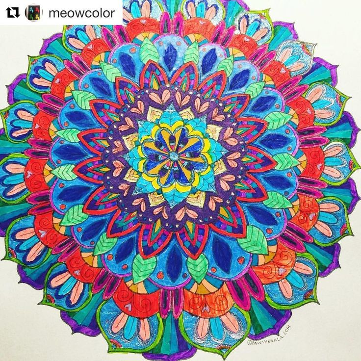 """Mental Images Coloring Books (@paivivesala_art) on Instagram: """"Nice colorful mandala colored by @meowcolor ❤️ Coloring book: Mental Images vol 1 (Amazon)"""""""