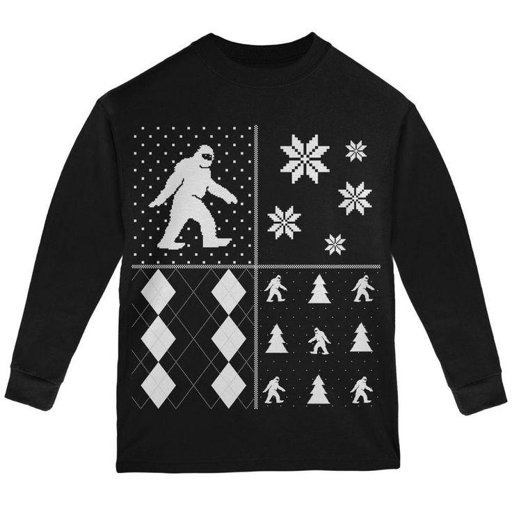 Sasquatch Festive Blocks Ugly XMAS Sweater Black Youth Long Sleeve T-Shirt