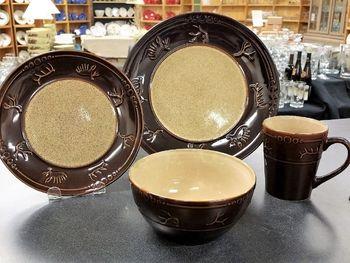 Wildlife Adventure Embossed Antler Rim 16pc Dinnerware set. INTRODUCTORY OFFER! - We are offering & 37 best Rustic Dinnerware images on Pinterest   Rustic dinnerware ...