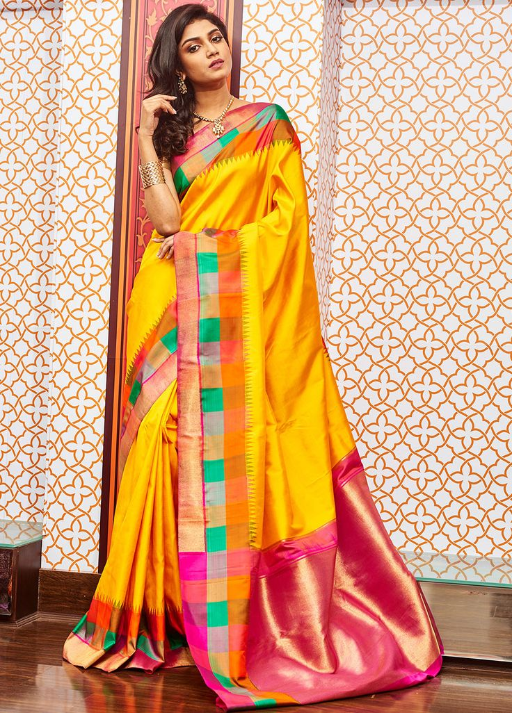 BUY SAREE ONLINE - YELLOW KANCHIPURAM SAREE WITH BLOUSE | INDIAN SILK HOUSE AGENCIES (love the pop of color at the border)