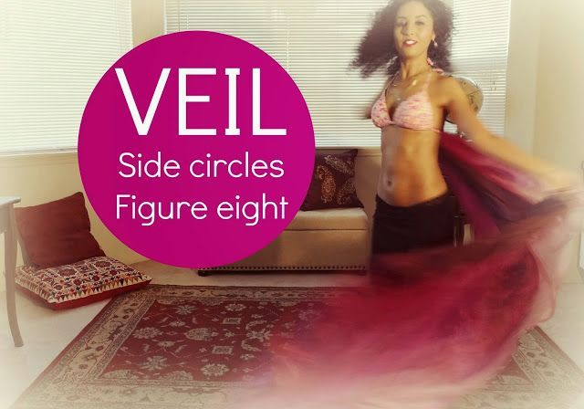 Veil belly dancing: side figure eights and figure eight circles ~ Free belly dance classes online