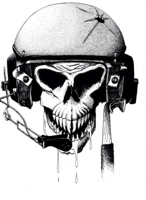 Skull Wearing Us Army Tanker Cvc Helmet Bones Skull