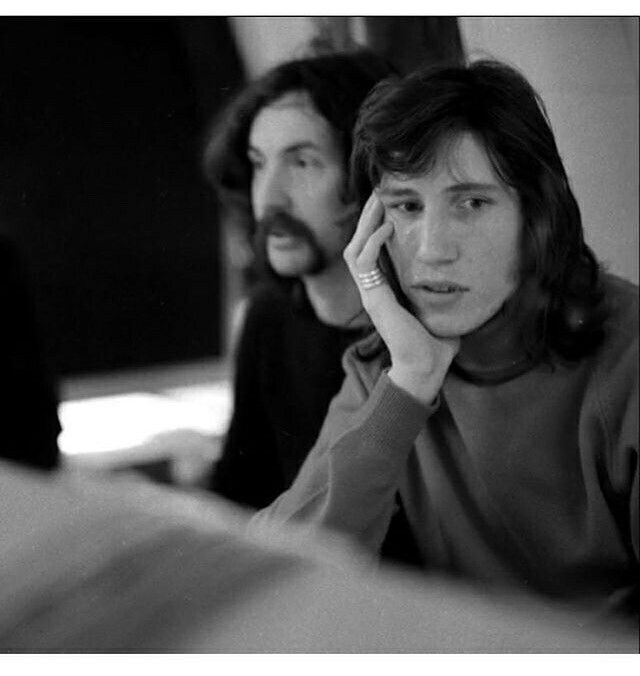 Nick Mason and Roger Waters, Pink Floyd (obscured by clouds recording session, 1972)