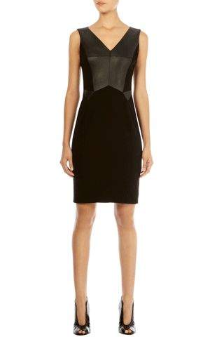 Faux leather and jersey luxury dress from Karen Millen, another favorite British designer.