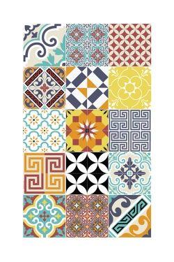 Le tapis en vinyle aux motifs graphiques bleu & jaune Imitation carreaux de ciment Dimensions : 60cm x 100 cm Facile d'entretien car lavable et étanche Il apportera du caractère et de l'originalité à votre intérieur