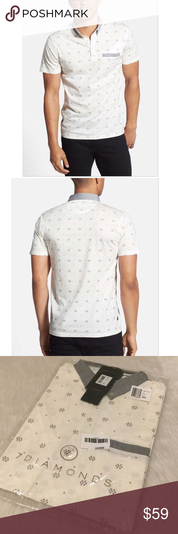 """NWT 7 Diamonds Prism Print Mercerized Polo A chambray button-down collar and welt-trimmed chest pocket top a lively print-patterned polo cut from soft, breathable, mercerized cotton jersey.  Three-button placket.  Approx 28.5"""" length.  100% cotton.  Color: Bone. 7 Diamonds Shirts Polos"""
