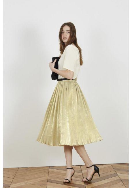 Falda midi plisada dorado