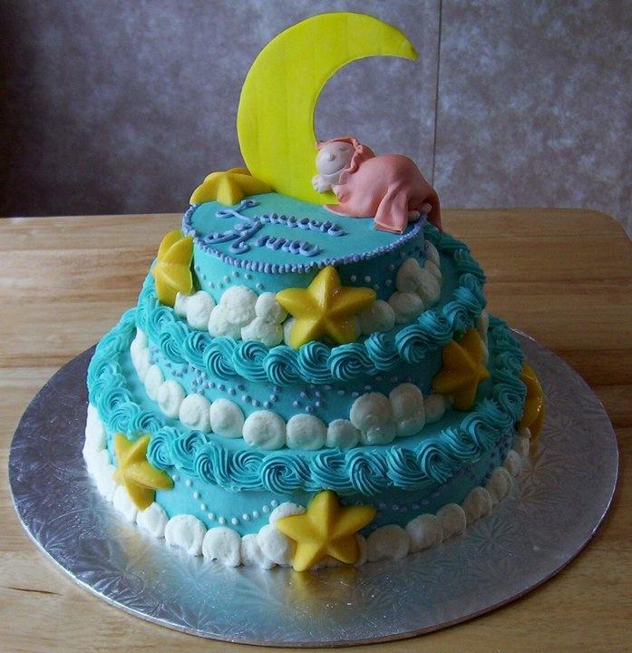 Wilton Baby Shower Cakes Part - 36: Moon U0026 Stars Baby Shower Cake