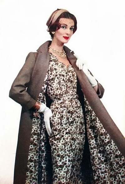 March 1959 -- Oh how I 'love' the look of a coat with a matching lining to a dress!  So chic, so slimming!