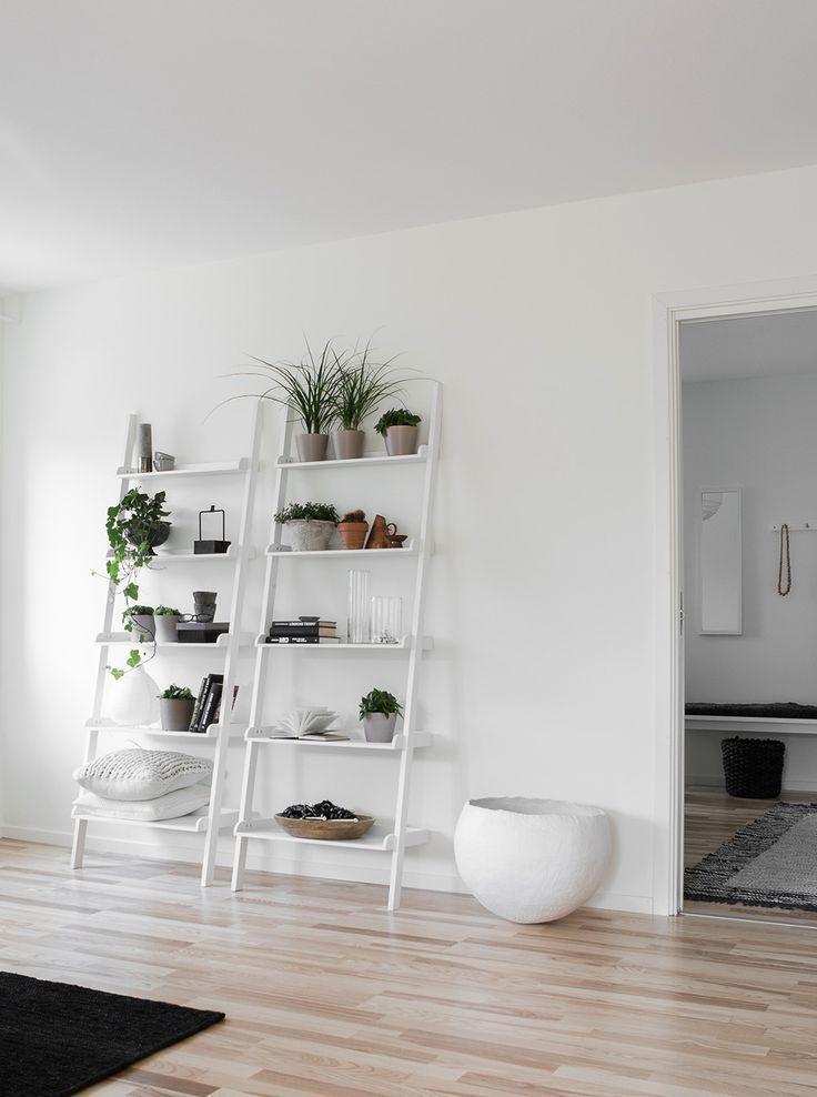leaning shelves. /