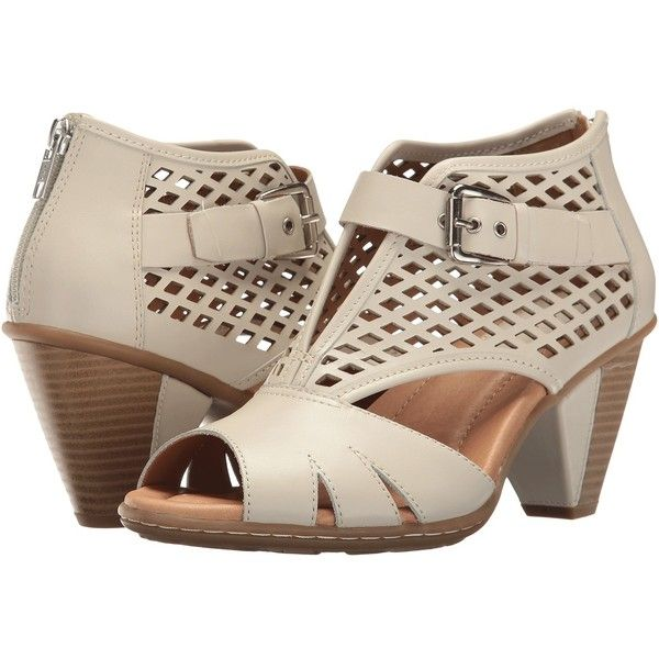 Earth Virgo (Off-White Soft Leather) Women's  Shoes ($110) ❤ liked on Polyvore featuring shoes, embellished shoes, off white shoes, peep toe platform shoes, zipper shoes and leather shoes