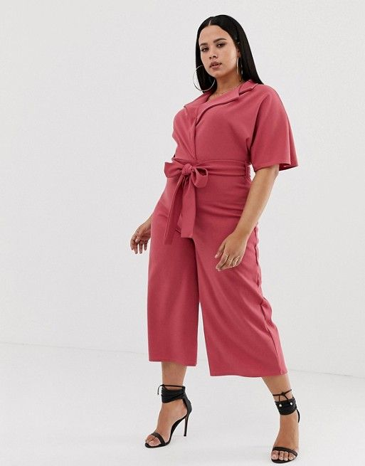 e80d061a6ba Boohoo Plus exclusive plus belted tailored culotte jumpsuit in dark ...