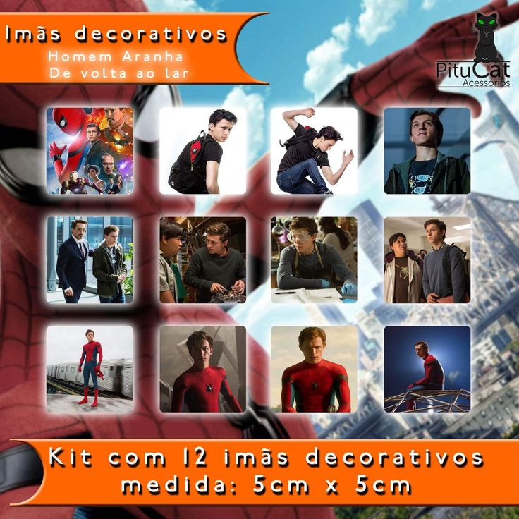 Pitucat Acessórios: Homem Aranha De Volta ao Lar 12 imãs decorativos 5cm x 5cm Tom Holland Peter Parker Spider Man Michael Keaton Adrian Toomes Vulture Robert Downey Jr Tony Stark Iron Man Homem de Ferro Marisa Tomei Tia May Parker Jon Favreau Happy Hogan Gwyneth Paltrow Pepper Potts Stan Lee Chris Evans Capitão America Stan Lee Marvel